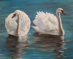 Swans Oil Painting